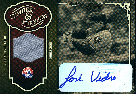 2005 Donruss Timber and Threads Jersey Signature #22 Jose Vidro/10