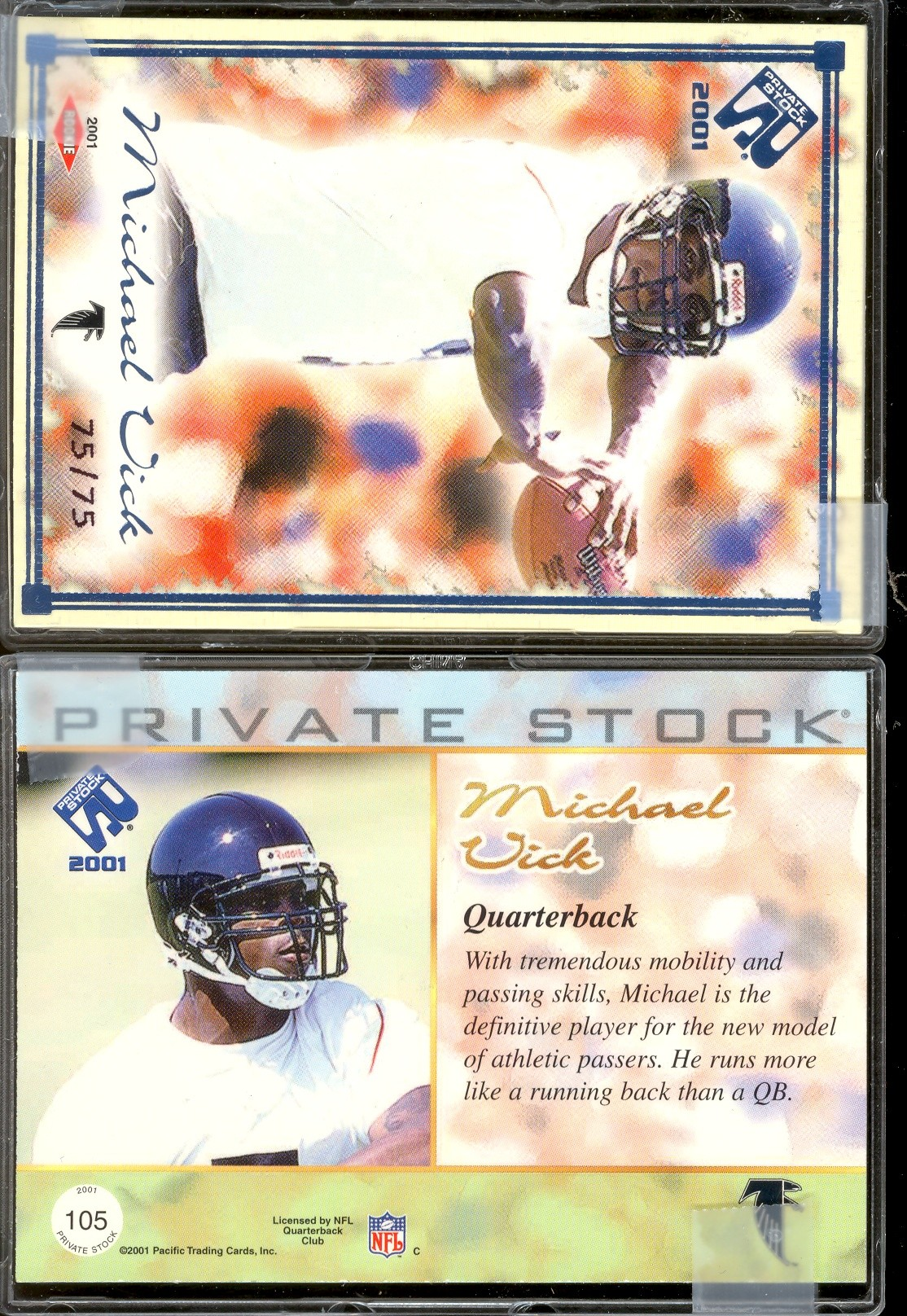 2001 Private Stock Blue Framed #105 Michael Vick
