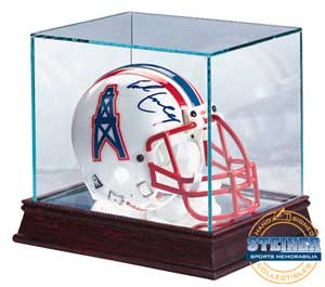 Ultra Pro Glass Mini-Helmet Display Case with mirrored bottom & wood base