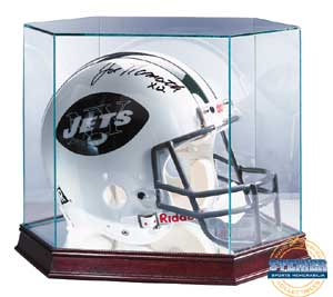 Ultra Pro Glass Full Size Football Helmet Display Case w/ mirrored bottom & wood base