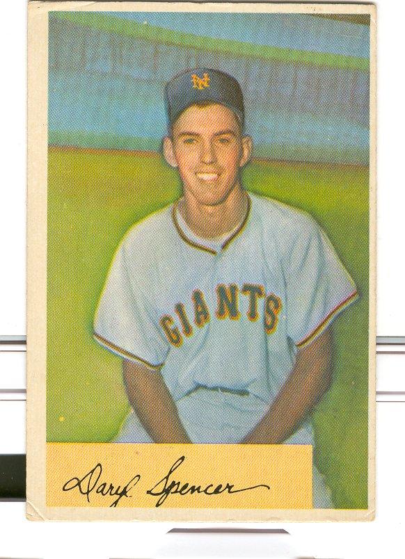 1954 Bowman #185A Daryl Spencer .941/.944 Fielding Avg. RC
