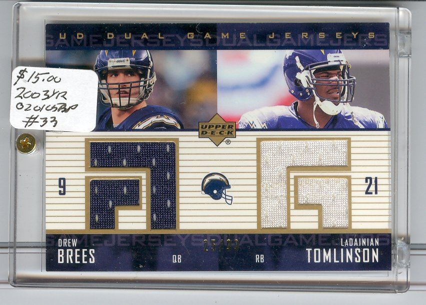 2003 Upper Deck Game Jerseys Duals #DGJBT Drew Brees/LaDainian Tomlinson