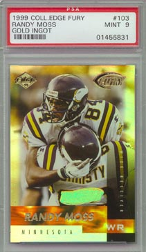 1999 Collector's Edge Fury Football #103 Randy Moss Gold Ingot #40/50 PSA Mint 9 Vikings