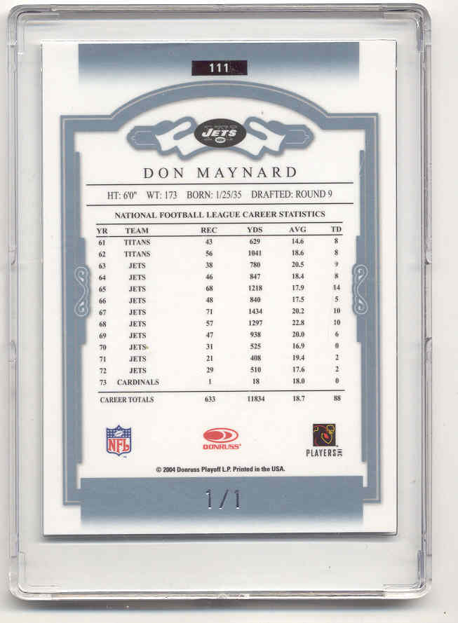 2004 Donruss Classics Timeless Tributes Platinum #111 Don Maynard