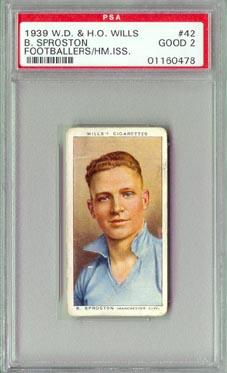 1939 W.D. & H.O. Wills B. Sproston Footballers PSA British Football Soccer NICE!