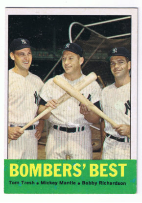 1963 Topps #173 Bomber's Best/Tom Tresh/Mickey Mantle/Bobby Richardson front image