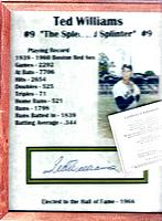 TED WILLIAMS Autographed stats page and photo, framed - Score Board Inc.