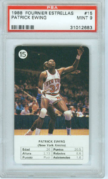 1988 Fournier Estrellas Card #15 Patrick Ewing Graded PSA Mint 9
