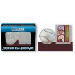 Ultra Pro Dark Wood Base Ball & Card Holder