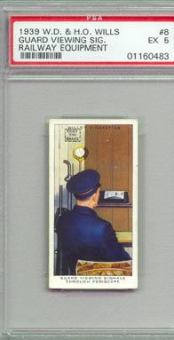 1939 W.D. & H.O Wills GUARD VIEWING SIGNALS THROUGH PERISCOPE Tobacco card NICE!! PSA EX 5