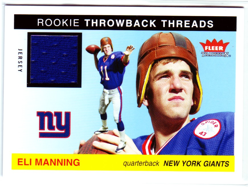 2004 Fleer Tradition Rookie Throwback Threads Jerseys #TTEM Eli Manning Blue