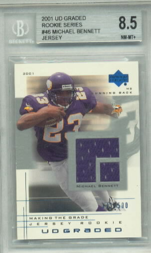 Michael Bennett Jersey 2001 UD Graded Rookie Series BGS Grade 8.5