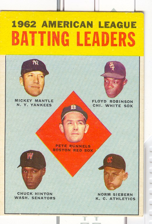 1963 Topps #2 AL Batting Leaders/Pete Runnels/Mickey Mantle/Floyd Robinson/Norm Siebern/Chuck Hinton