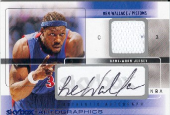 2004-05 SkyBox Autographics Autographs Jerseys 100 #BW Ben Wallace