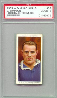 1939 W.D. & H.O. Wills F.H. Broome Soccer/Footballers tobacco card NICE!!