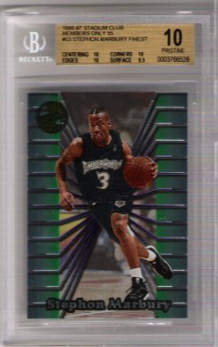 Stephon Marbury FINEST 1996-97 Stadium Club Members Only 55 BGS 10 Pristine ROOKIE!!