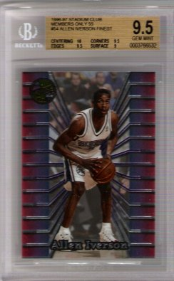 Allen Iverson FINEST 1996-97 Stadium Club Members Only 55 BGS Grade 9.5 Gem Mint Rookie