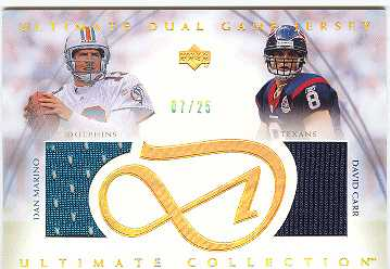 2003 Ultimate Collection Game Jersey Duals Gold #UDJMC Dan Marino/David Carr