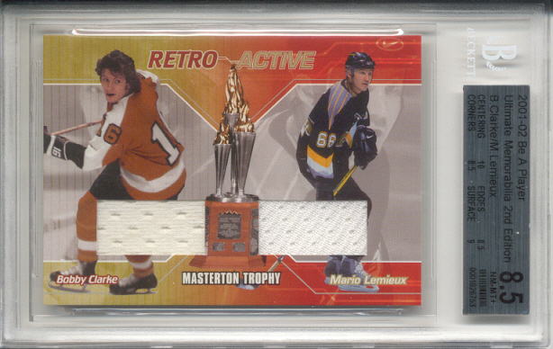 2001-02 BAP Ultimate Memorabilia Retro Trophies #5 Bobby Clarke/Mario Lemieux/Masterton Trophy