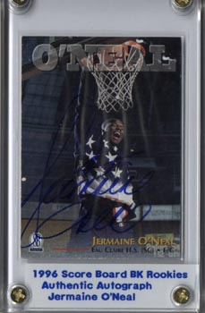 1996 Scoreboard Basketball Rookies Jermaine O'Neal Authentic Autographed Blue Ink Mint NICE!!