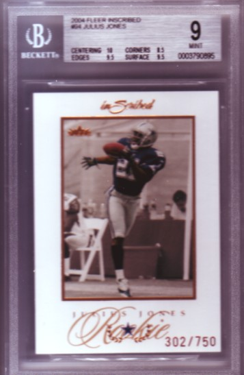 2004 Fleer Inscribed #94 Julius Jones RC ROOKIE #302/750 BGS-9.0 MINT Dallas Cowboys BGS
