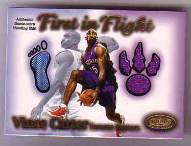 2000-01 Hoops Hot Prospects Vince Carter First In Flight #3 Vince Carter Shirt/750