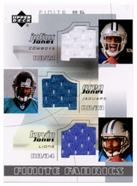 2004 Upper Deck Finite HG Fabrics Triples #JJJ J.Jones/G.Jones/Ke.Jones