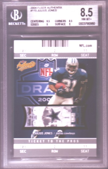 2004 Fleer Authentix #115 Julius Jones RC ROOKIE BGS-8.5 NM-MT+ #732/750 Dallas Cowboys BGS
