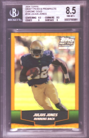 2004 Topps Draft Picks and Prospects Chrome Gold #134 Julius Jones RC ROOKIE BGS-8.5 NM-MT+