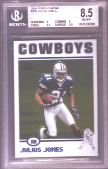 2004 Topps Chrome #206 Julius Jones RC ROOKIE BGS-8.5 NM-MT+ Dallas Cowboys BGS