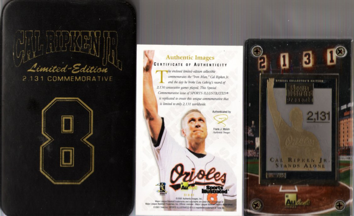 2001 Cal Ripken JR Authentic Images Limited Edition Card #325/2131 Commemorative Card With COA & Collector's Case! BEAUTIFUL!!