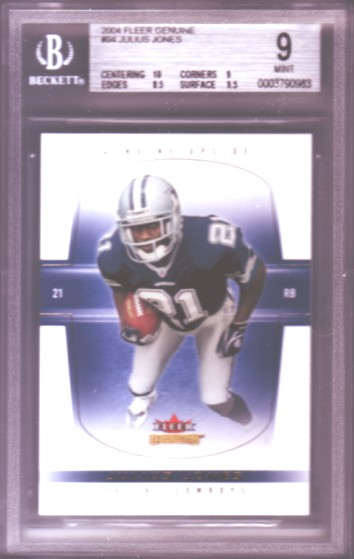 2004 Fleer Genuine #94 Julius Jones RC ROOKIE #211/500 BGS-9.0 MINT Dallas Cowboys