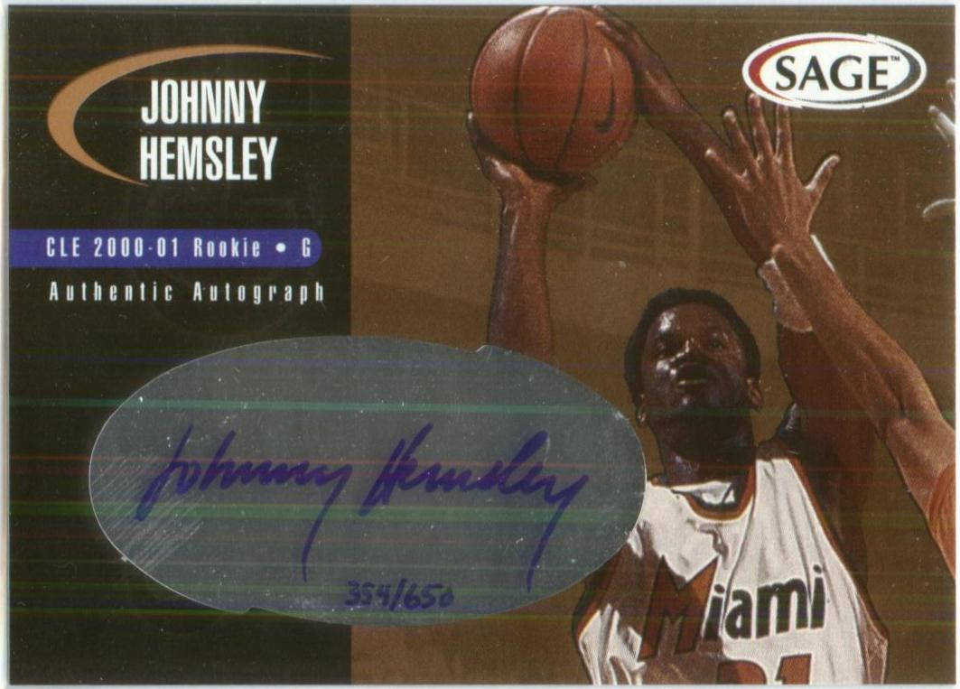 2000 SAGE Autographs Bronze #A22 Johnny Hemsley/650
