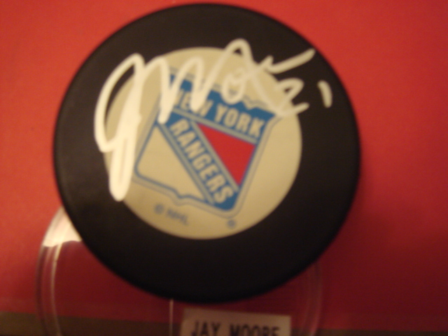 Jay Moore New york Rangers Autographed puck with COA