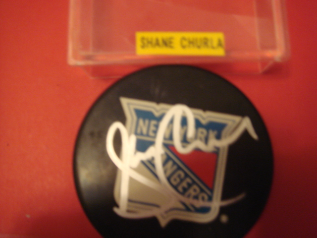 Shane Churla Autographed New York Rangers Hockey Puck 