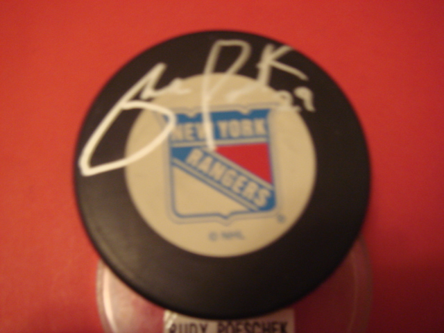 Rudy Poeschek Autographed New York Rangers Puck With COA