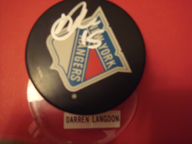 Darren Langdon Autographed New York Rangers Puck With COA