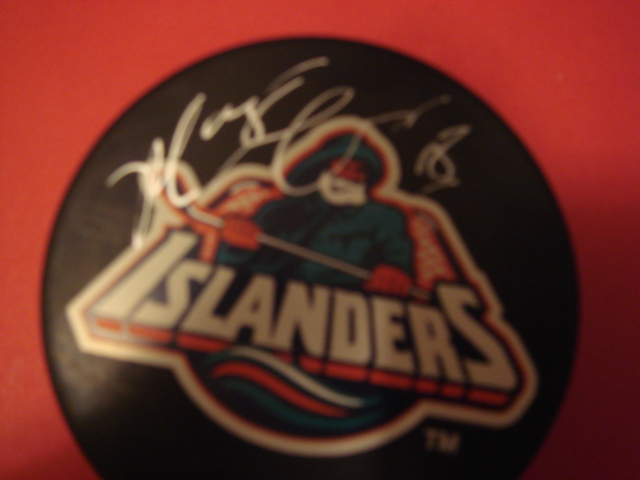 Marty McInnis Autographed New York Islanders Fishermans Puck with COA