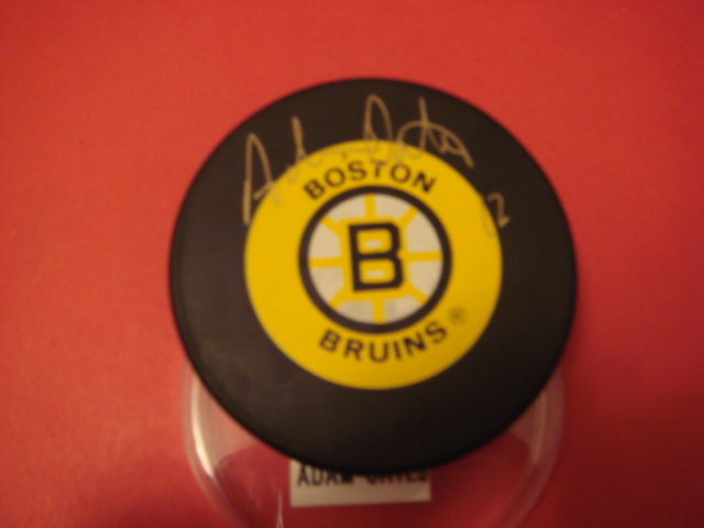 Adam Oates Autographed Boston Bruins Puck With COA