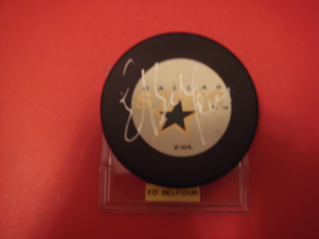 Ed Belfour Autographed Dallas Stars Puck With COA