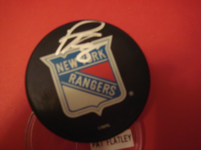 Pat Flatley Autographed new York Rangers Puck with COA