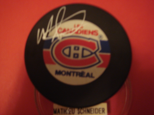 Mathieu Schneider Autographed Montreal Canadiens Puck With COA