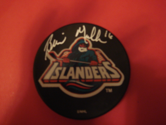 Brian Mullen Autographed New York Islanders Fishermans Puck With COA