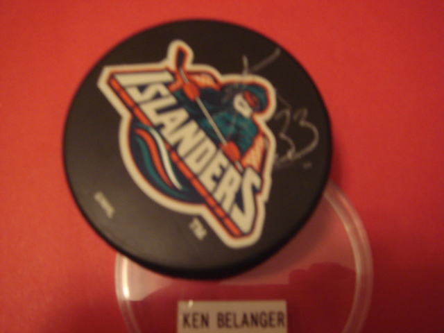Ken Belanger Autographed Islanders Fishermans Puck With COA