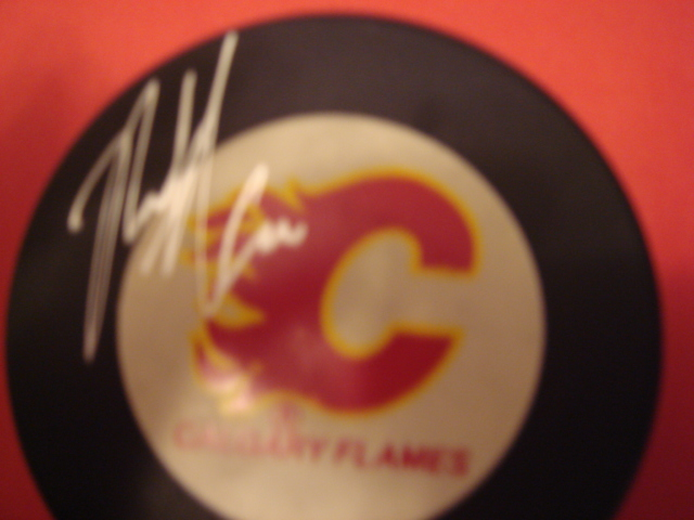 Rick Tabaracci Autographed Calgary Flames Hockey Puck