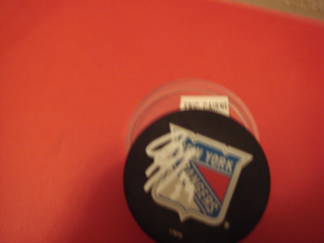 Eric Carns Autographed New York Rangers Hockey Puck with COA