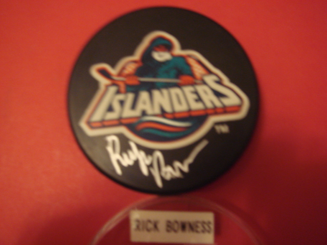 Rick Bowness Autographed New york Islanders Fishermans Puck with COA