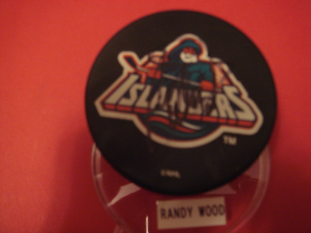 Randy Wood Autographed New york Islanders Fishermans Puck with COA