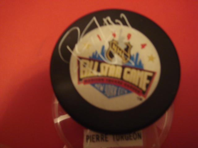 Pierre  Turgeon Autographed 1994 All Star MSG NYC Puck With COA