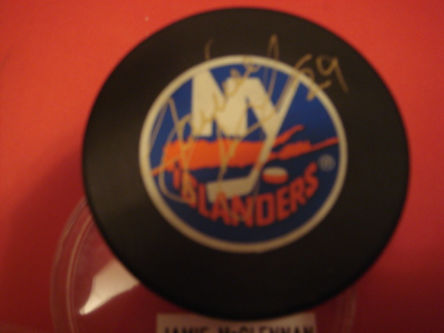 Jamie McClennan Autographed New York Islanders Puck With COA